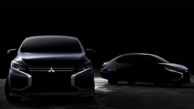 Hình ảnh lộ diện thiết kế mới của Mirage (trái) và Attrage (phải). Ảnh: Mitsubishi