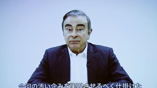 Cựu chủ tịch Nissan Carlos Ghosn trong một thông cáo báo chí bằng video sau khi chạy sang Lebanon. (Ảnh: Reuters)