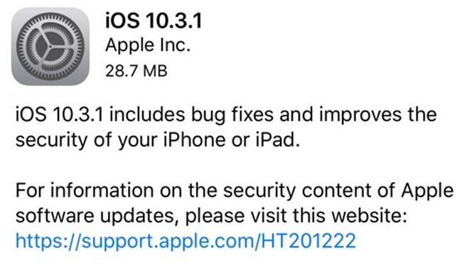 iOS 10.3.1 tập trung vào các tính năng bảo mật cho iPhone, iPad