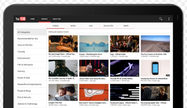 YouTube cho Android được thay đổi giao diện