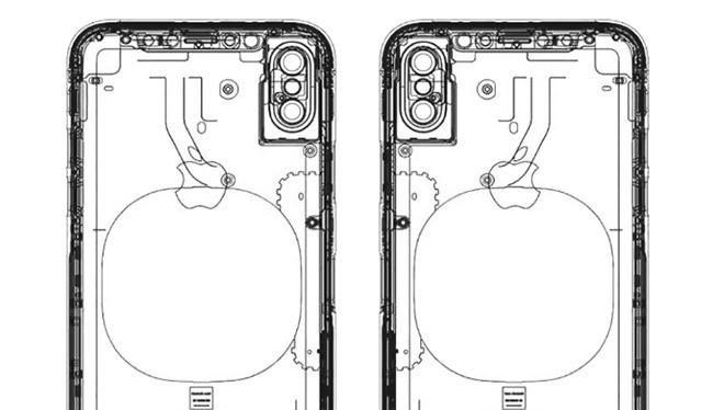 Bản vẽ mô tả iPhone 8 không có máy quét vân tay ở mặt lưng