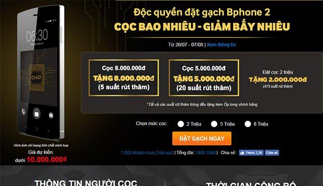 Chương trình đặt mua BPhone 2 được thực hiện từ ngày 26/7 đến ngày 10/8