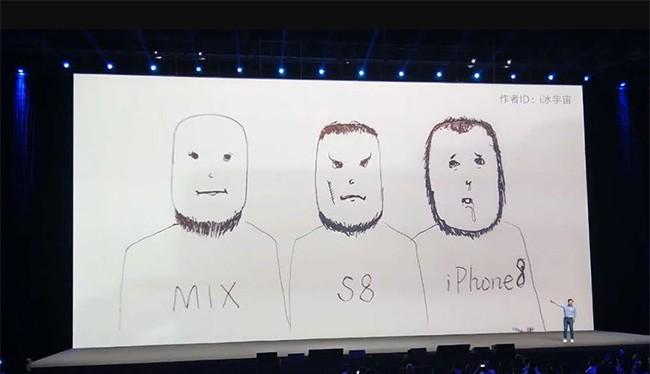 Xiaomi gây cười cho khán giả bằng một bức ảnh vui với hàm ý viền màn hình của Mi MIX 2 còn mỏng hơn Galaxy S8 và iPhone X (ảnh: YouTube)