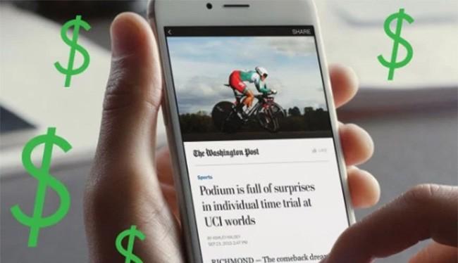 Người dùng muốn đọc tin tức trên Facebook sẽ phải trả tiền thuê bao (ảnh: Tech Crunch)