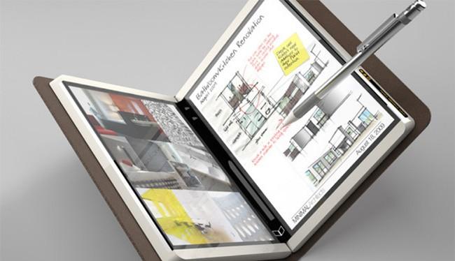 Một mẫu máy tính bảng có tên mã là Courier đã không được phát hành hồi năm 2009 cho chúng ta hình dung khái niệm về một máy tính bảng gập đôi của Microsoft (ảnh: Phone Arena)