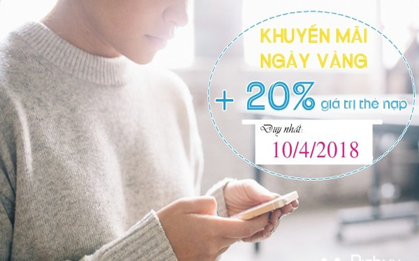 Nạp thẻ ngày 10/4, thuê bao VinaPhone sẽ được tặng 20% giá trị thẻ nạp (ảnh: VinaPhone)
