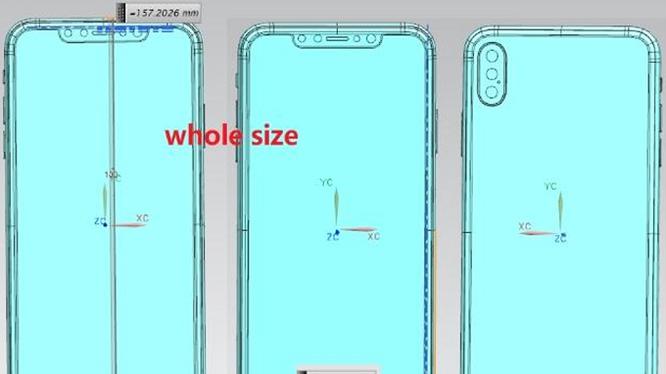 Bản vẽ iPhone Xs Plus cho thấy mẫu điện thoại này có 3 camera (ảnh: Phone Arena)