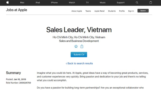 Thông tin Apple tuyển dụng vị trí Sales Leader tại Việt Nam (ảnh: website Apple)