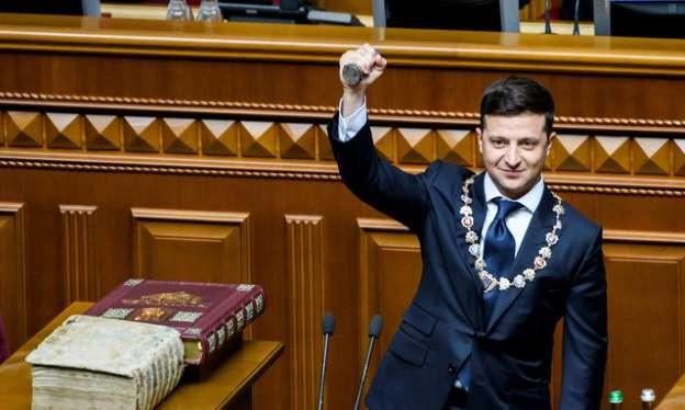 Tổng thống Ukraine tại lễ tuyên thệ nhậm chức (ảnh Reuters)