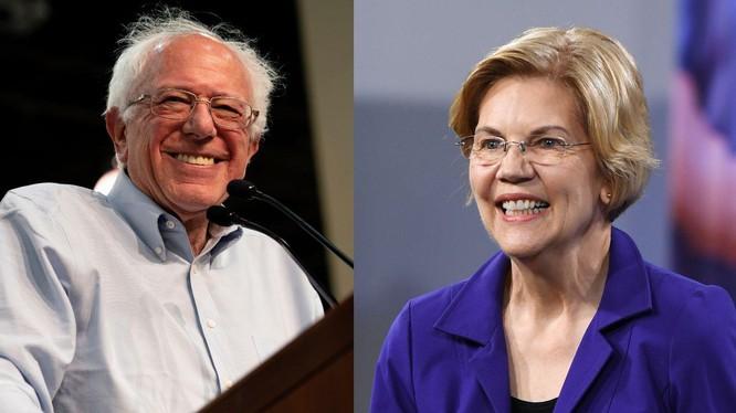 Bà Elizabeth Warren (phải) nhiều khả năng trở thành ứng cử viên Tổng thống duy nhất của đảng Dân chủ đấu với ông Trump năm 2020
