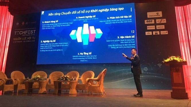 ông Hà Trung Dũng, đại diện VNPT trình bày tham luận tại Ngày hội khởi nghiệp đổi mới sáng tạo quốc gia