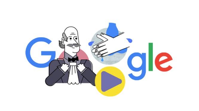 Biểu tượng của Google khuyến khích mọi người rửa tay để phòng dịch Covid-19