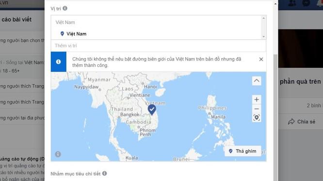 Bản đồ Facebook không hiển thị quần đảo Hoàng Sa và Trường Sa thuộc chủ quyền Việt Nam