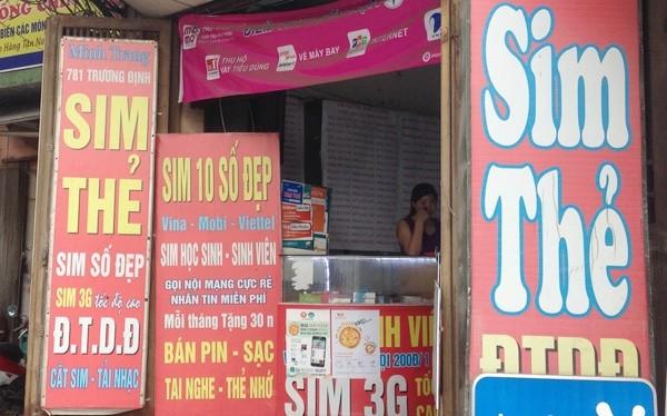 Các cửa hàng như thế này sẽ không được phép bán SIM của 3 nhà mạng lớn trong nước