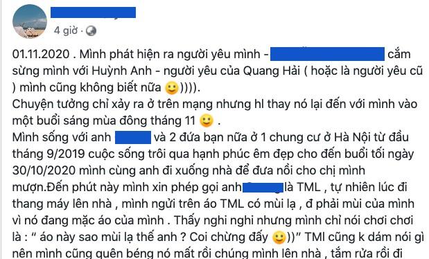 Bài viết tố Huỳnh Anh (ảnh: Facebook H.T.Q)