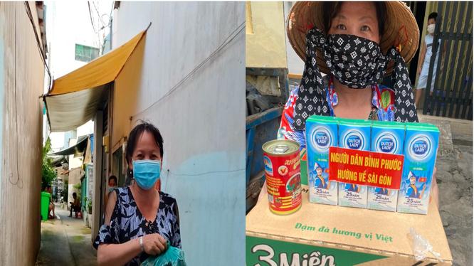 Người dân quận Bình Tân (TP Hồ Chí Minh) vui vẻ khi nhận những món quà nhỏ từ người dân Bình Phước