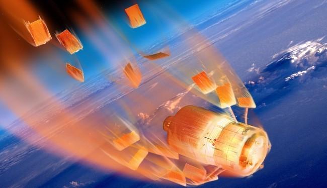 Minh họa tàu vũ trụ ATV của châu Âu phát nổ và bị đốt cháy khi rơi vào bầu khí quyển trái đất (ESA/D. Ducros)