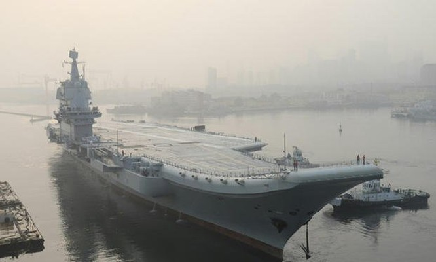 Tàu sân bay tự đóng của Trung Quốc đang được thử nghiệm (Ảnh: AFP)