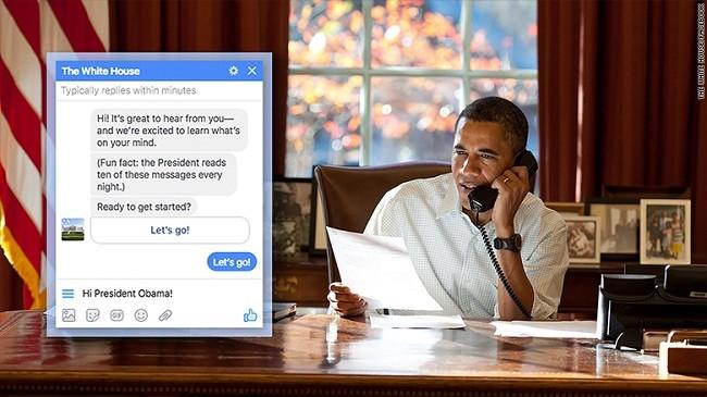 Mỗi ngày, ông Obama sẽ trả lời 10 tin nhắn Messenger được gửi đến từ người dân.