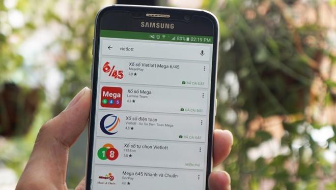 Rất nhiều ứng dụng 'xổ số kiểu Mỹ' trên Google Play.