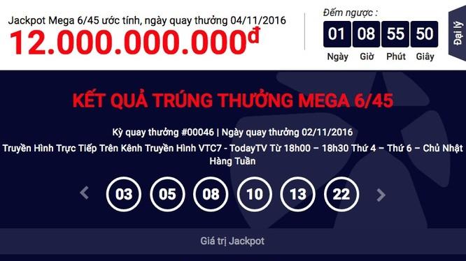 Số tiền chính xác của giải Jackpot tại kỳ quay thưởng ngày 2/11 là 64.808.542.500 đồng. (Ảnh: Vietlott)