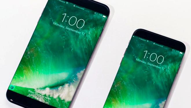 Bản dựng 2 model iPhone 8 với thiết kế không viền, màn hình AMOLED và loại bỏ nút Home truyền thống. Ảnh: Veniamin Geskin .