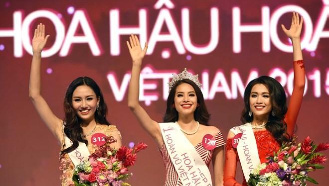 Top 3 Hoa hậu Hoàn vũ Việt Nam 2015. (Ảnh: BTC)