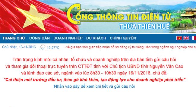 Lãnh đạo Thừa Thiên Huế sẽ đối thoại trực tuyến với cá nhân, tổ chức, doanh nghiệp... về môi trường đầu tư, kinh doanh.
