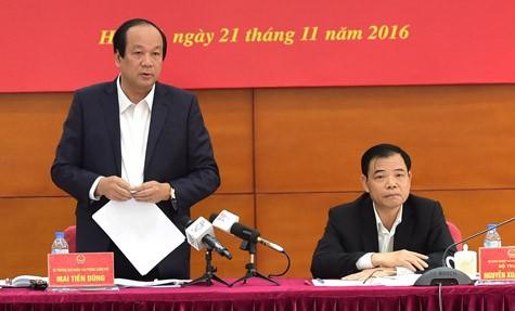 Bộ trưởng Chủ nhiệm VPCP mai TIến Dũng tại cuộc họp - (Nguồn VN+)