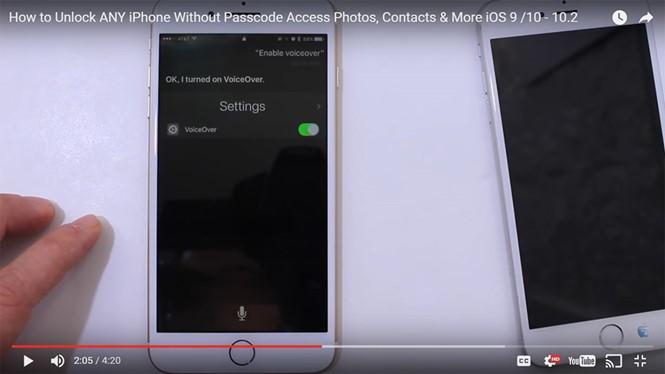 Phương thức khai thác lỗi trên iPhone đang được chia sẻ công khai trên YouTube- (Ảnh chụp màn hình).
