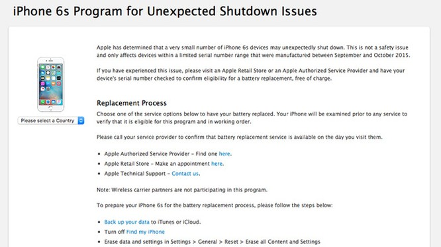 Chương trình thay thế pin miễn phí dành cho người dùng iPhone 6s