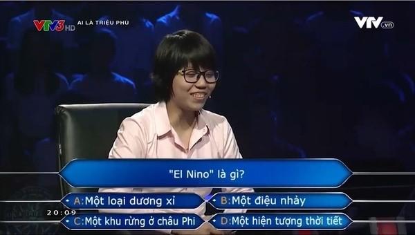 Nữ kỹ sư chơi 'Ai là triệu phú' nghĩ El Nino là tên hãng sữa