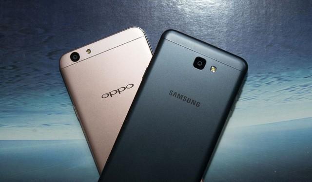 Oppo F1s và Galaxy J7 Prime đều có vỏ nhôm nguyên khối.