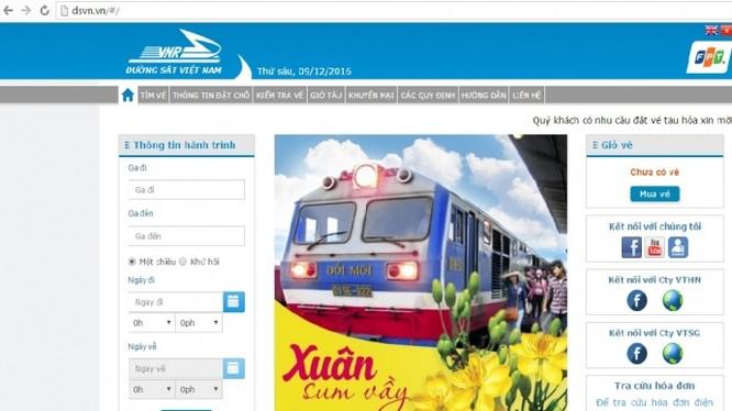 Giao diện trang website bán vé tàu của ngành Đường sắt Việt Nam.