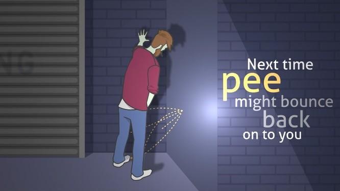 """Video mô tả loại sơn """"trừng phạt"""" người tiểu bậy sẽ khiến họ lãnh trọn hậu quả nếu đi tiểu vào tường của lãnh đạo thành phố Chester"""