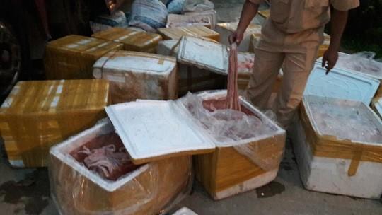 Các thùng lòng, mỡ động vật đã bốc mùi hôi thối bị lực lượng CSGT phát hiện bắt giữ. Ảnh: QV