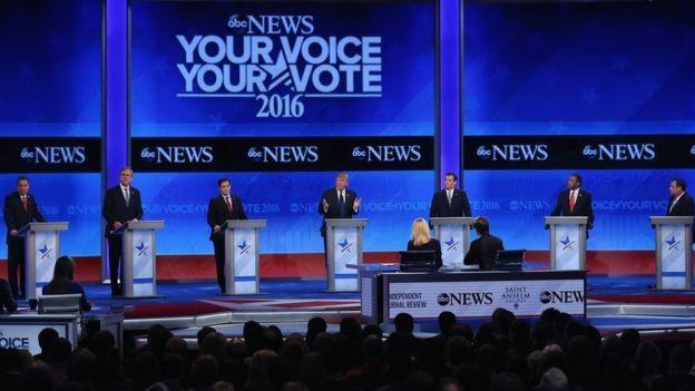 Các ứng viên đảng Cộng hòa trong cuộc tranh luận ngày 6/2 (Ảnh: Getty)