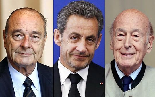Từ trái qua: Các cựu tổng thống Pháp Jacques Chirac, Nicolas Sarkozy và Valéry Giscard d'Estaing. Ảnh: REX