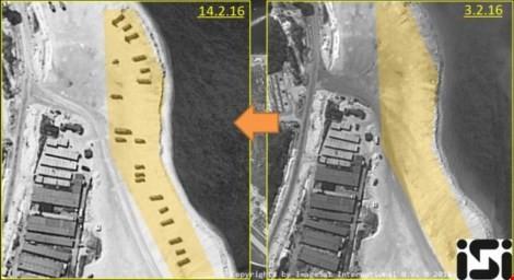 Hình ảnh vệ tinh chụp đảo Phú Lâm trong ngày 3-2 (phải) và ngày 14-2. Ảnh: REUTERS