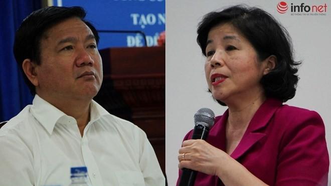 Bí thư Thành ủy TP.HCM Đinh La Thăng và bà Mai Kiều Liên đối thoại trong buổi làm việc ngày 1/3.