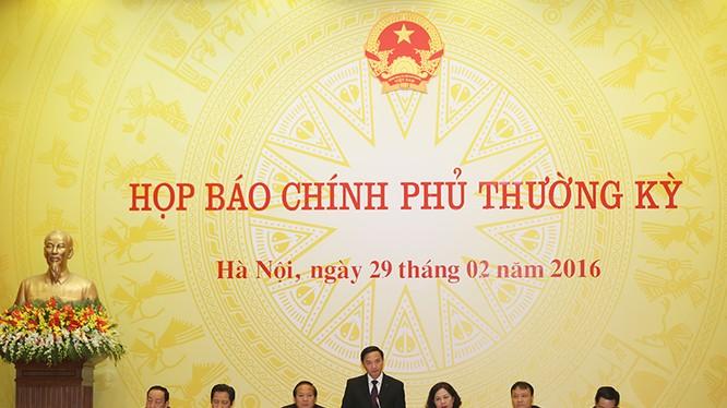 hiên họp báo thường kỳ Chính phủ tháng 2/2016 - Ảnh: VGP/Quang Hiếu