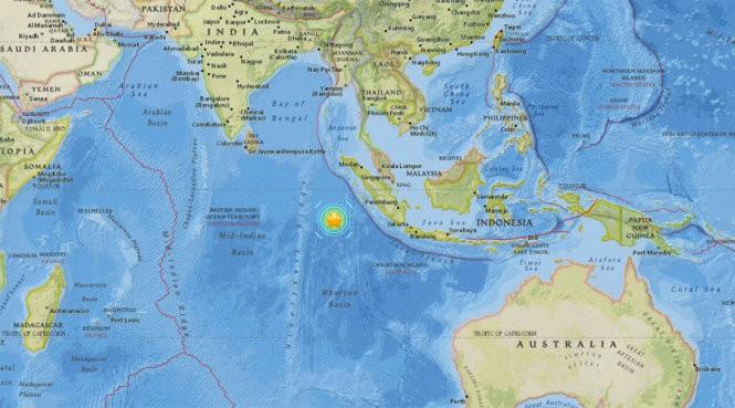 Vị trí tâm trận động đất (Ảnh: USGS)