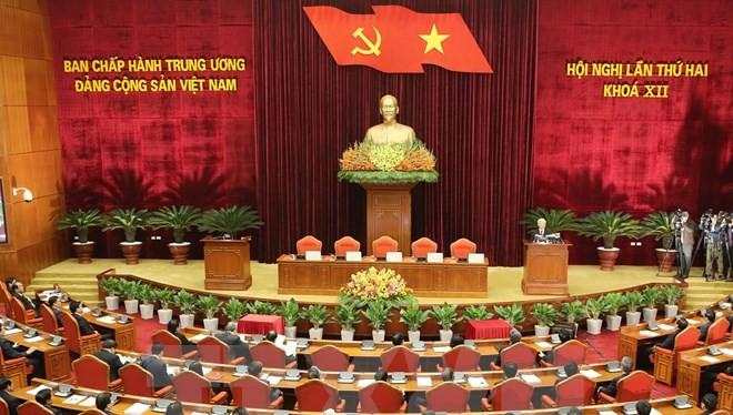 Toàn cảnh bế mạc Hội nghị Trung ương Đảng lần 2. (Ảnh: Trí Dũng/TTXVN)