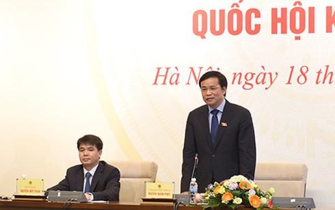 Tổng Thư ký Quốc hội Nguyễn Hạnh Phúc phát biểu tại họp báo