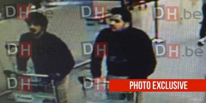 Hình ảnh 2 kẻ được cho là nghi can đánh bom sân bay Bỉ - Ảnh: RT/Twitter