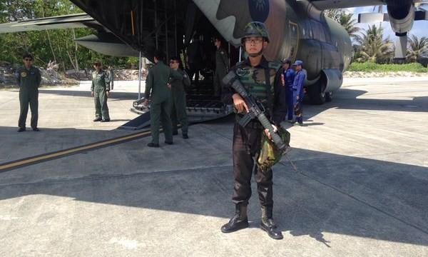 Chuyến đổ bộ phi pháp của Đài Loan lên đảo Ba Bình. Ảnh: Twitter của Ben Blend