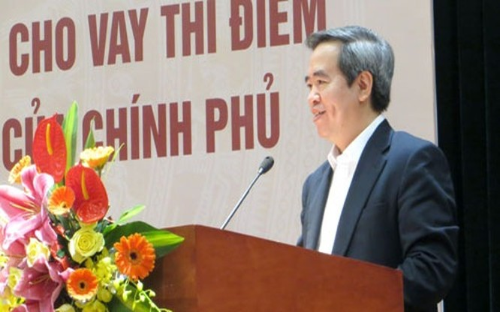 Thống đốc Nguyễn Văn Bình phát biểu tại hội nghị đánh giá kết quả triển khai chương trình cho vay thí điểm phục vụ phát triển nông nghiệp ngày 24/3/2016.