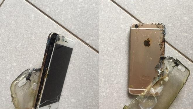 Hình ảnh chiếc iPhone 6 của anh Tâm sau khi phát nổ. Ảnh: NVCC.
