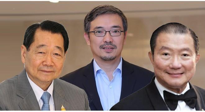 Ba người giàu nhất Thái Lan. Từ trái qua: Dhanin Chearavanont, Tos Chirathivat, Charoen Sirivadhanabhakdi