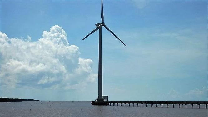 Tháp điện gió tại một tỉnh Đồng bằng sông Cửu Long đã được đưa vào vận hành. Ảnh minh họa: Trung Chánh